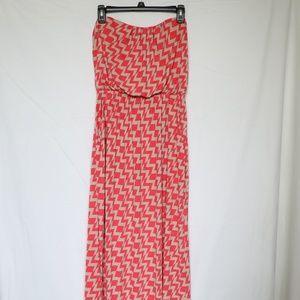 Three Pink Hearts Long Strapless Maxi Dress XL
